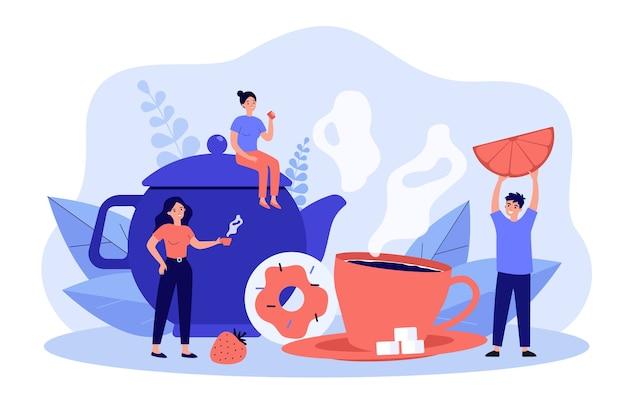 Groupe d'amis buvant du thé ensemble.