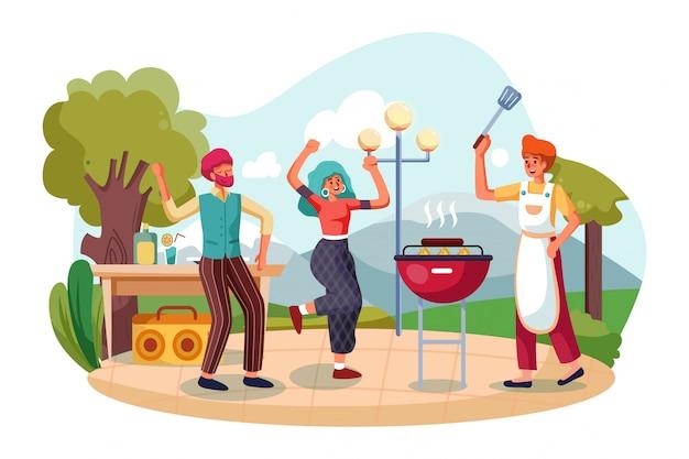 Groupe d'amis dansant au barbecue en plein air