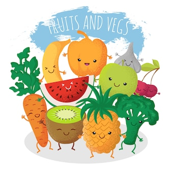 Groupe d'amis drôles de fruits et légumes. personnages avec des visages souriants heureux