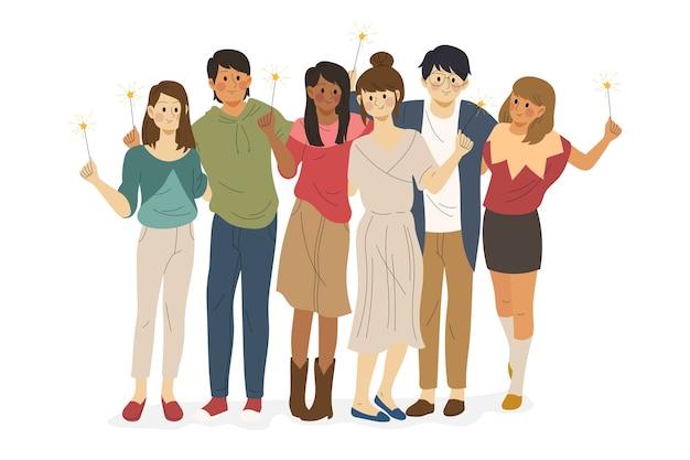Groupe d'amis ensemble illustration