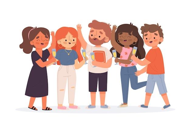 Groupe d'amis grillage ensemble illustration