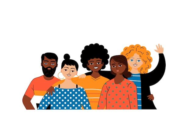 Groupe d'amis multiculturels