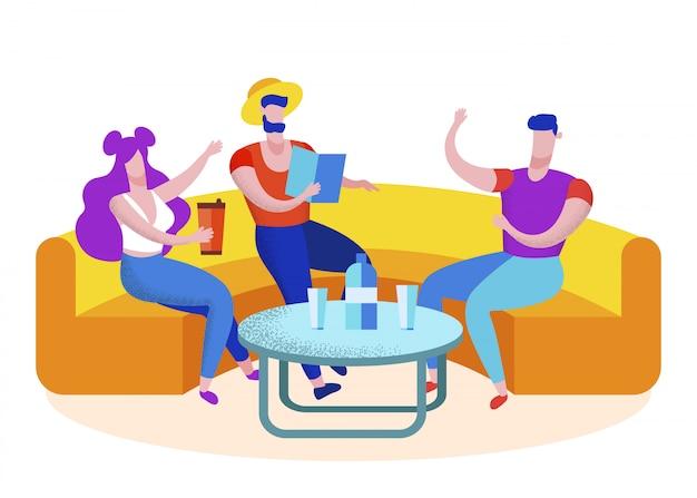 Groupe d'amis touristes visitant un café, loisirs