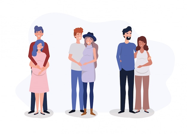 Groupe d'amoureux couples personnages de grossesse