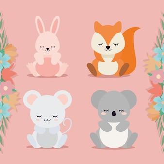 Groupe d'animaux à côté de la conception d'illustration de fleurs