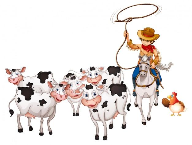 Groupe d'animaux domestiques avec cow-boy isolé