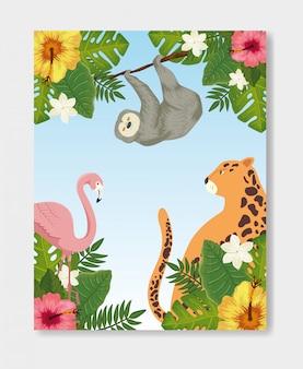 Groupe d'animaux exotiques avec fleurs et feuilles