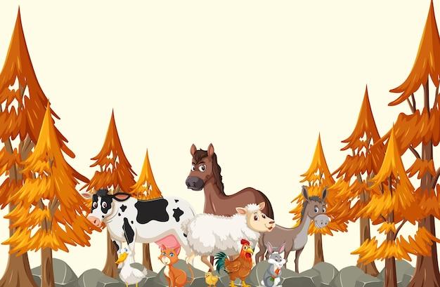Groupe d'animaux de ferme dans la scène de la forêt d'automne