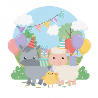 Groupe d'animaux mignons ferme en scène de fête d'anniversaire