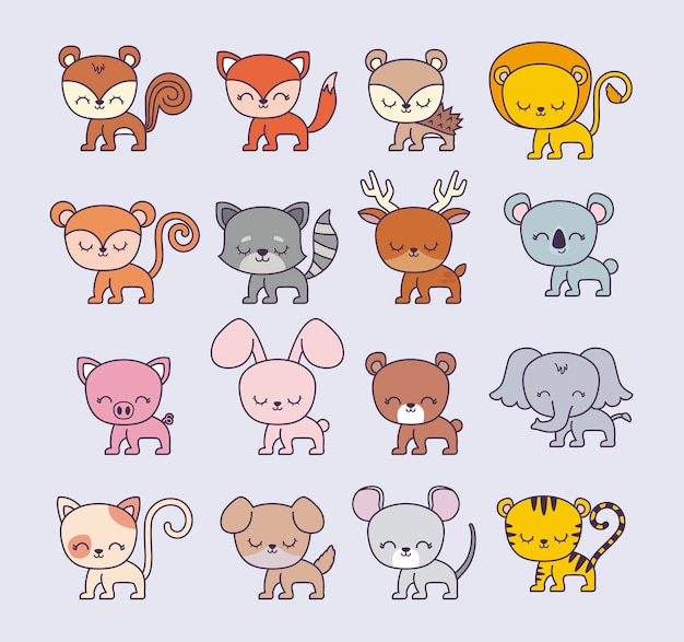Groupe d'animaux mignons