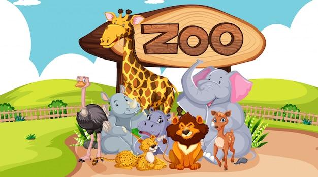 Groupe d'animaux avec signe de zoo