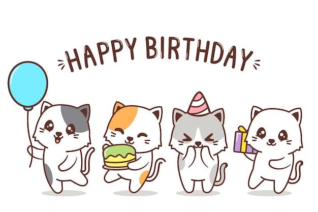 Groupe d'anniversaire de personnage de chat mignon