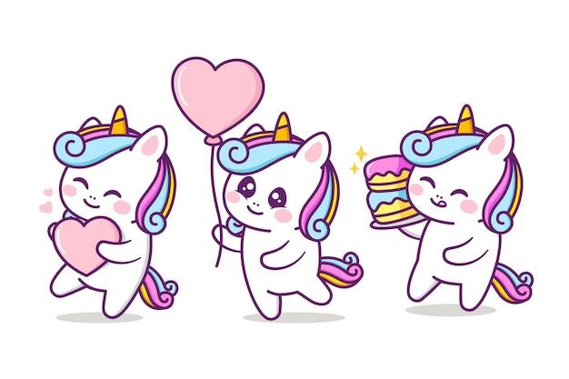 Groupe d'anniversaire de personnage de licorne mignon