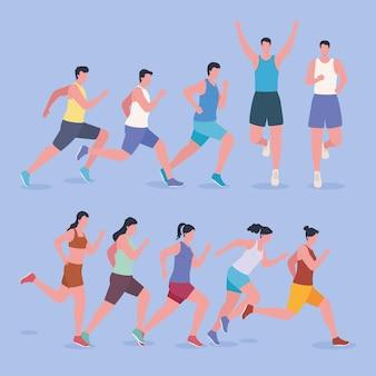 Groupe d'athlètes de marathon
