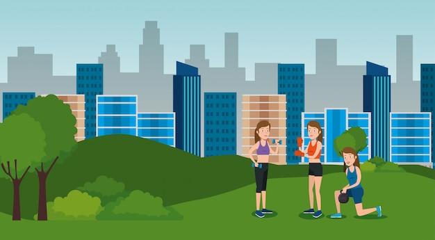 Groupe d'athlètes pratiquant des sports sur le parc