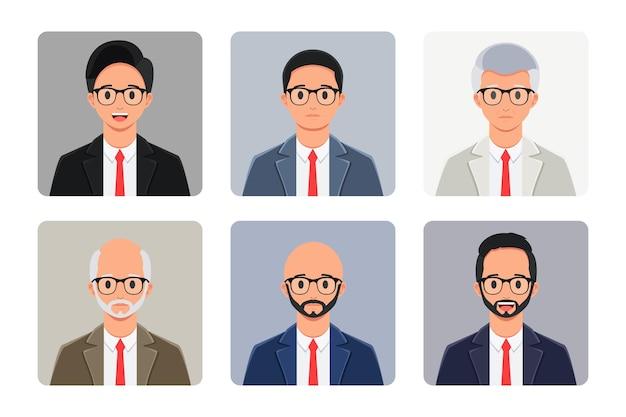 Groupe d'avatar d'homme d'affaires