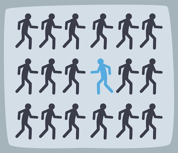 Groupe d'avatars dans différentes positions