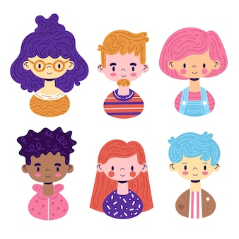 Groupe d'avatars de personnes concept