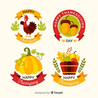 Groupe de badge thanksgiving design plat