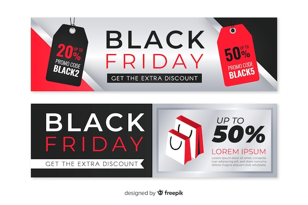 Groupe de bannières de vendredi noir design plat