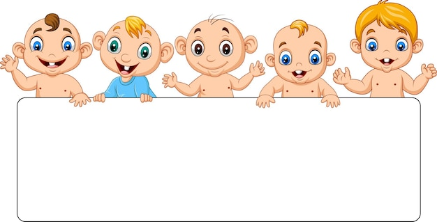 Groupe de bébés garçons de dessin animé avec signe vierge