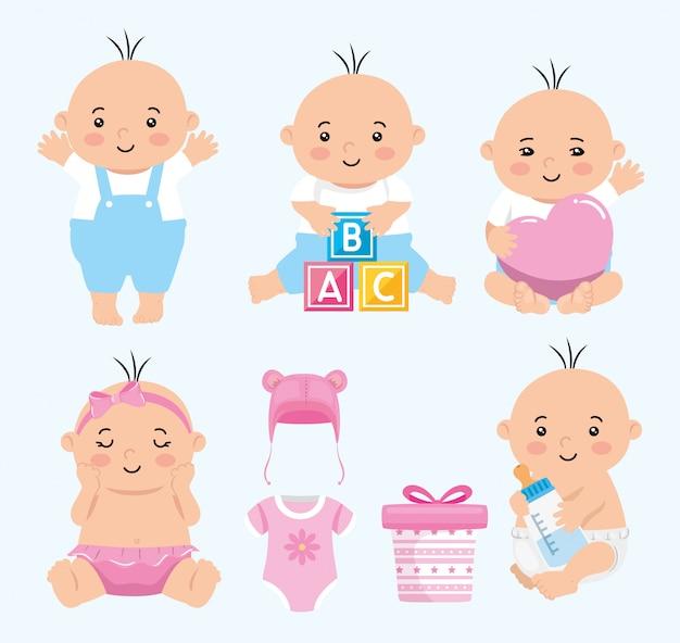 Groupe de bébés mignons