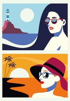 Groupe de belles femmes dans des scènes plates de paysage marin