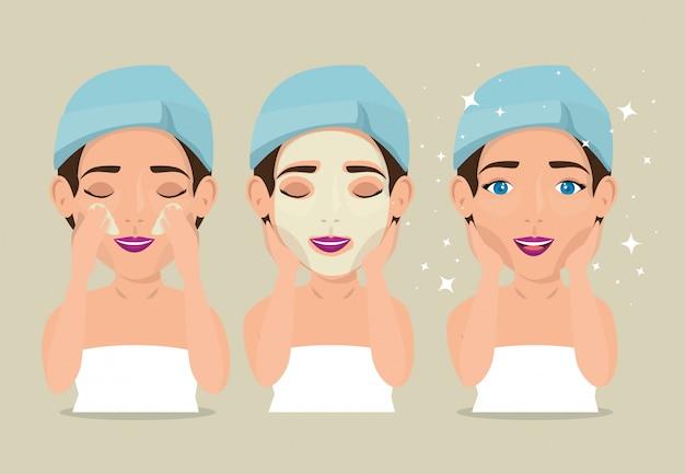 Groupe de belles femmes en traitement du visage