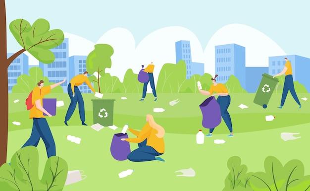 Groupe de bénévoles activiste écologie personnes ramassant des ordures en plastique