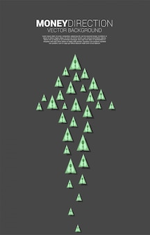 Groupe de billets d'avion en papier origami en papier est disposé en forme de grosse flèche. concept d'entreprise de la direction de l'entreprise et puissance d'unité