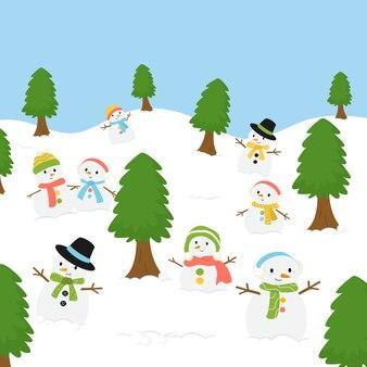 Groupe de bonhomme de neige en fond de saison d'hiver