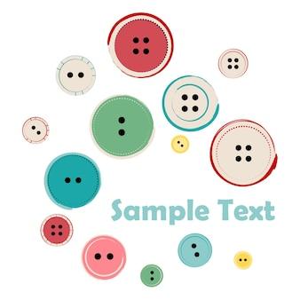 Groupe de boutons de couture avec exemple de texte. illustration vectorielle de boutons sur fond blanc