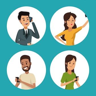 Groupe de cadre circulaire communication de réseau social