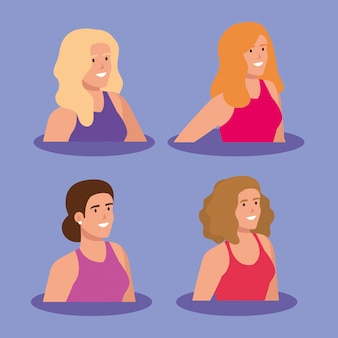 Groupe de caractère avatar de belles femmes