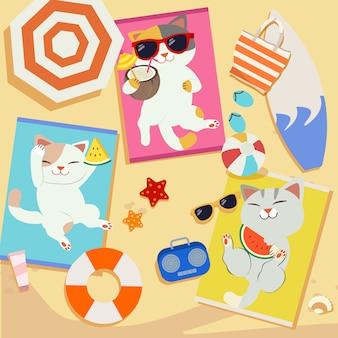 Un groupe de chat mignon se faire bronzer sur la plage. un chat porte des lunettes de soleil, une pastèque mangeant une pastèque.