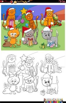 Groupe de chatons de dessin animé sur la page de livre de coloriage de noël