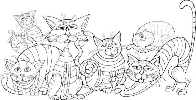 Groupe de chats de couleur pour livre de coloriage