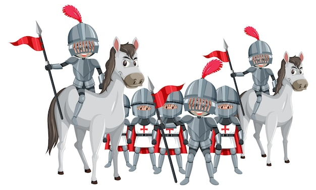 Un groupe de chevaliers médiévaux sur fond blanc