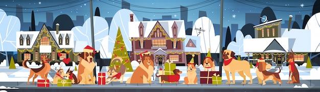 Groupe de chiens dans des chapeaux de père noël à l'extérieur près des maisons décorées se marier avec noël