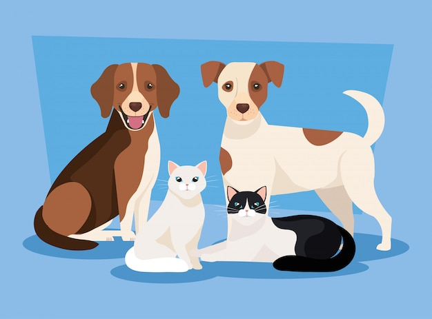 Groupe de chiens avec des icônes de chats