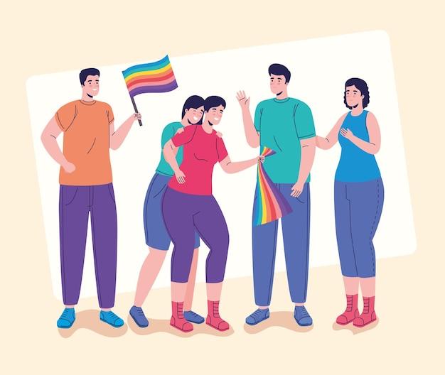 Groupe de cinq personnes avec des caractères de drapeaux lgtbi