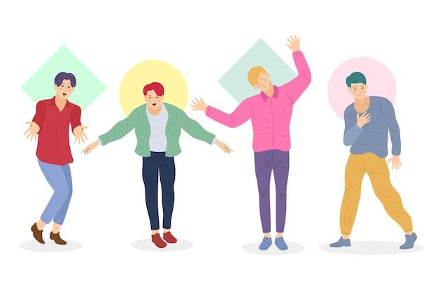 Groupe Coloré De Garçons K-pop Vecteur gratuit