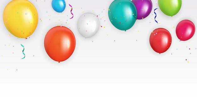 Groupe de couleur fond de ballons à l'hélium brillant