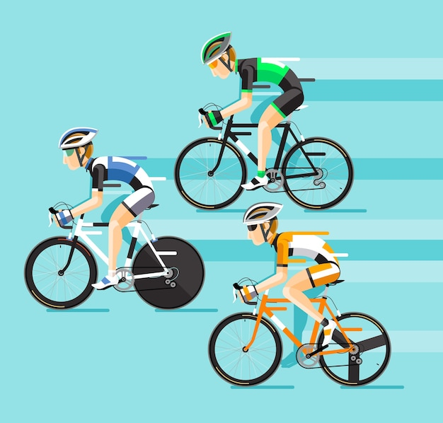 Le groupe de cyclistes homme en course de vélo de route