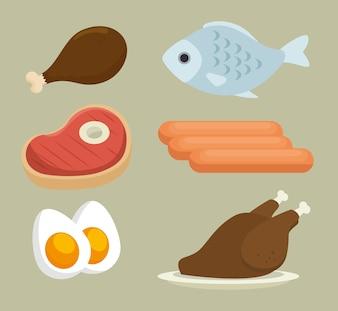 Groupe d'icônes de nourriture nutritive vector illustration design