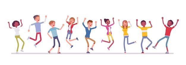 Groupe de danse de gens heureux