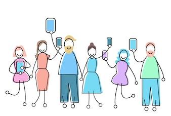 Groupe de personnes avec Concept de communication de réseau social Gadget