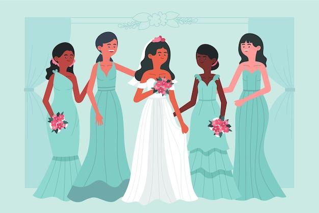 Groupe design plat de demoiselles d'honneur avec mariée