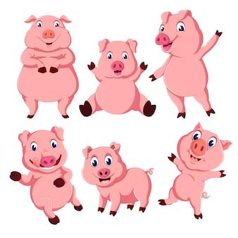 Un groupe de dessin animé de cochon