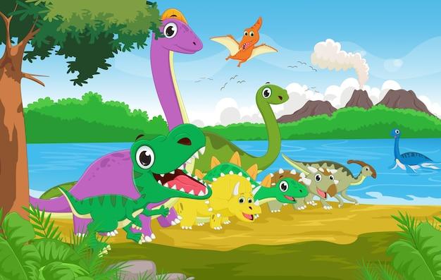 Groupe de dessin animé de dinosaure avec le fond préhistorique